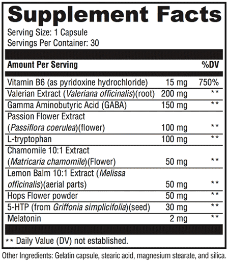 Zen Night Supplement Facts